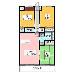コーディアル三好[3階]の間取り