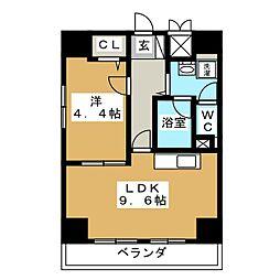 ウイングF・S[6階]の間取り