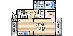 阪急甲陽線 苦楽園口駅 徒歩8分の賃貸マンション 2階ワンルームの間取り