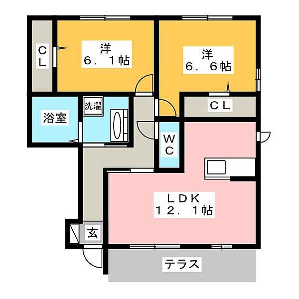 愛知県岡崎市丸山町字上地畑の賃貸アパートの間取り