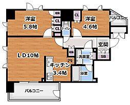 都営大江戸線 牛込柳町駅 徒歩4分の賃貸マンション 6階2LDKの間取り