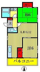 第二弥藤コーポ[1階]の間取り
