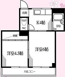 神奈川県相模原市南区御園2丁目の賃貸アパートの間取り