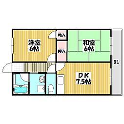 北田ハイツ[3階]の間取り