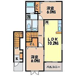 長崎県諫早市久山町の賃貸アパートの間取り