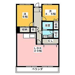 桜ハイツ[4階]の間取り