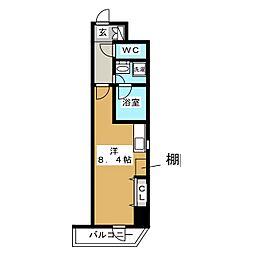 RELUXIA上野 6階ワンルームの間取り