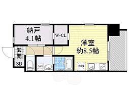 レジディア新大阪 6階ワンルームの間取り