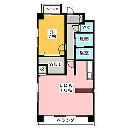 フラワーコート本町[4階]の間取り
