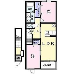愛知県名古屋市守山区大森1丁目の賃貸アパートの間取り