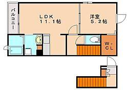 リガールA[2階]の間取り