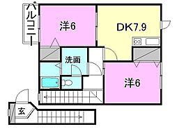イーストコートA・B[B202 号室号室]の間取り