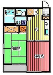 埼玉県蕨市塚越6丁目の賃貸マンションの間取り