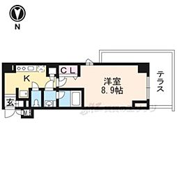 京都地下鉄東西線 東山駅 徒歩7分の賃貸マンション 1階1Kの間取り