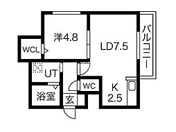 MODENA豊平 4階1LDKの間取り