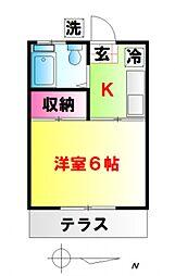 東京都中野区江古田2丁目の賃貸アパートの間取り