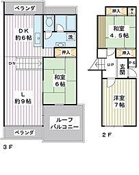 入船中央エステート 22号棟[2階]の間取り