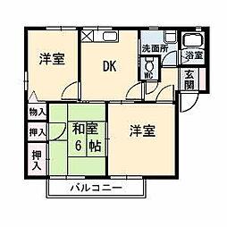 山口県山口市阿知須岩倉西前区の賃貸アパートの間取り