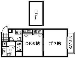 大阪府泉南市岡田5丁目の賃貸アパートの間取り