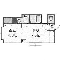 北海道札幌市西区二十四軒三条6丁目の賃貸アパートの間取り