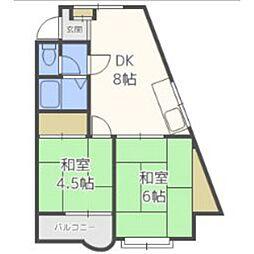 福岡県福岡市南区弥永1丁目の賃貸マンションの間取り