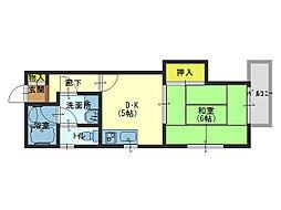 グリーンファミール石田 3階1DKの間取り