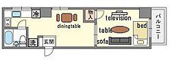 家具・家電付きマルシンビル D  リノルーム[6階]の間取り