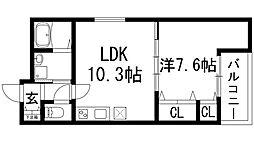 大阪府池田市天神2丁目の賃貸アパートの間取り