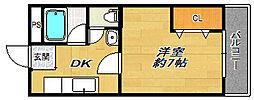 大阪府大阪市淀川区十三東1丁目の賃貸マンションの間取り