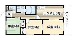 愛知県名古屋市名東区猪子石原3丁目の賃貸アパートの間取り