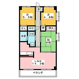 ファミーユ長栄[7階]の間取り