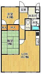 兵庫県西宮市菊谷町の賃貸マンションの間取り