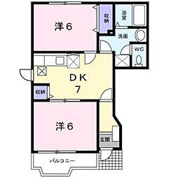 JR総武本線 佐倉駅 徒歩15分の賃貸アパート 1階2DKの間取り