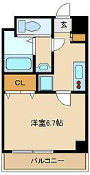 ラグゼ尼崎WEST 8階1Kの間取り