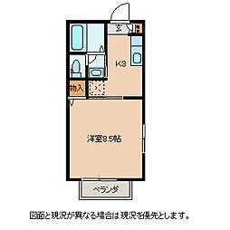 ディアスMIWA 2階1Kの間取り