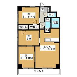 愛知県名古屋市昭和区鶴舞2丁目の賃貸マンションの間取り