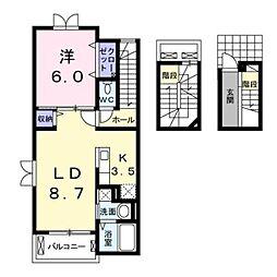 JR南武線 稲田堤駅 徒歩9分の賃貸アパート 3階1LDKの間取り