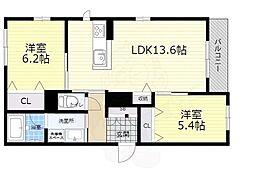 大阪モノレール本線 千里中央駅 徒歩10分の賃貸アパート 2階2LDKの間取り