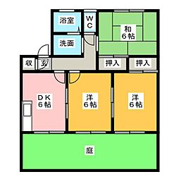 愛知県半田市山代町2丁目の賃貸アパートの間取り