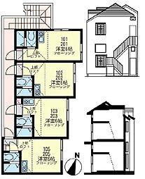 ユナイト 鹿島田セレーノエクシア[2階]の間取り