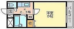 岡山県岡山市北区下伊福上町の賃貸マンションの間取り