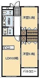 カーサ松永[21号室]の間取り