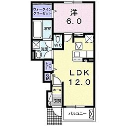 カープ II 1階1LDKの間取り