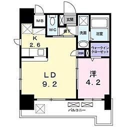 JR鹿児島本線 箱崎駅 バス12分 オロシアム下車 徒歩4分の賃貸マンション 9階1LDKの間取り