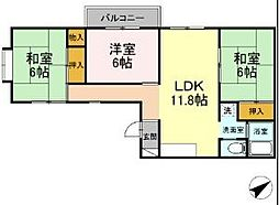 グリーンハウスクスノキ 3階3LDKの間取り