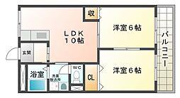 大阪府大阪市平野区平野上町1丁目の賃貸マンションの間取り