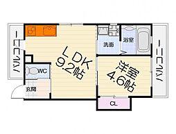 泉北高速鉄道 深井駅 徒歩17分の賃貸アパート 1階1LDKの間取り