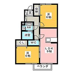 アロース・ガーデンA[1階]の間取り