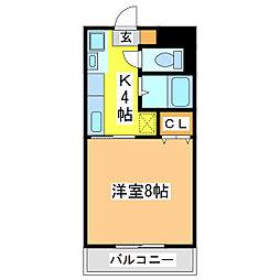 広島県東広島市西条中央 1丁目の賃貸マンションの間取り