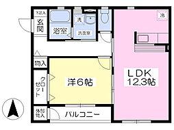サンパティーク 2階1LDKの間取り